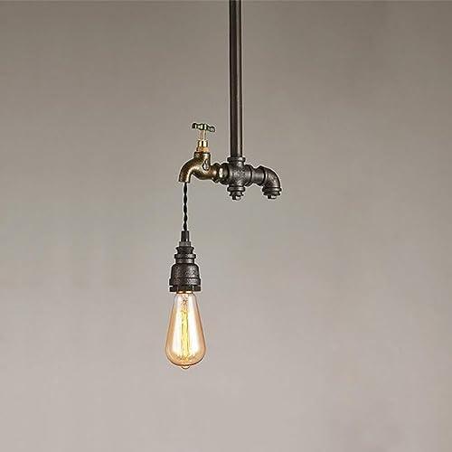 TOYM UK Chandelier de long tuyau d'eau, loft idées de lustre en fer forgé vintage américain pour les restaurants, bars, cafés (Couleur   Seule tête)