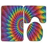 Goodsthing Tapis de Bain Multicolored Rainbow Bath Mat,3 Piece Bathroom Rug Set, Flannel Non Slip Toilet Seat Cover Set,Large Contour Mat