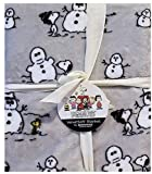 Peanuts Berkshire Velvet Soft Blanket Twin 60' x 90' Snoopy and Woodstock Build A Snowman