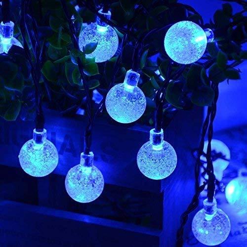 Joomer Globe Solar String Lights, 20ft 30 LED Outdoor Bulb String Lights,Waterproof 8 Modes Solar Patio Lights for Patio, Garden, Gazebo, Yard, Outdoors (Blue)