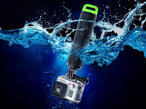 Waterproof Floating Hand Grip Compatible with GoPro Camera Hero 5 Session Black Silver Hero 6 5 4 3 2 1 Handler & Handle Mount Accessories Kit & Water for Water Sport and Action Cameras (Green)