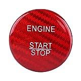 Qiilu Botón de inicio cubierta del marco,Cubierta del botón de arranque del motor de fibra de carbono para A B C GLC CLA ML GL Clase(Rojo)