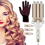 FancyWhoop Curling Iron, 22mm Wave Wand 3 Barrel Curling Tongs Adjustable Temperature Ceramic...