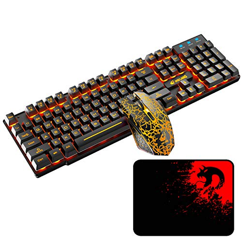 Wireless Gaming Keyboard and Mouse,Rechargeable Orange Backlit Keyboard Mouse with 3800mAh Battery,Mechanical Feel Gaming Keyboard,7 Color Gaming Mute Mouse,Gaming Mouse Pad for PC Gamers