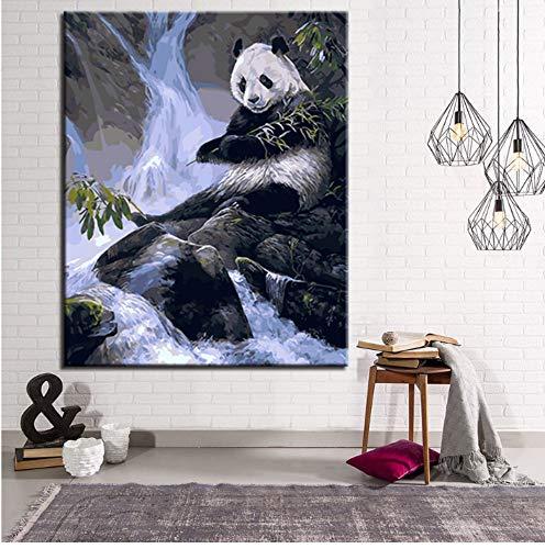 Yuwo olieverfschilderij op nummers, knutselset, waterval, kant panda, voor het opnemen van bamboeafbeeldingen op doek, decoratie voor thuis, muur, kunst, zonder lijst, 40 x 50 cm