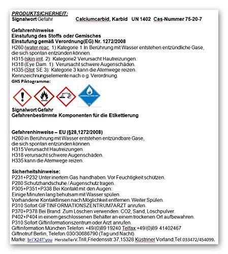 bri'X24T'you® Karbid 0.500KG+Handschuhe(1x) Premium KARBID (1A.Ql.Rg.187319)*Alt Bewährt und sehr Ergiebig (0.500KG) - 6
