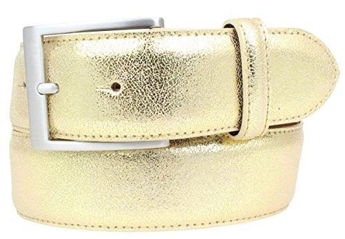 Hochwertiger Gürtel Metall-Optik Echt Leder 4 cm | Leder-Gürtel Metallic-Look 40mm | Metall-Ledergürtel | Gold 85cm