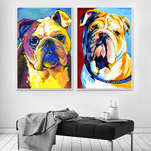 Preisvergleich Produktbild Tierbulldogge Welpenbild Wandkunst Leinwand Ölgemälde Wohnzimmer Hauptdekoration, Rahmenlose Malerei, 60X80cmx2