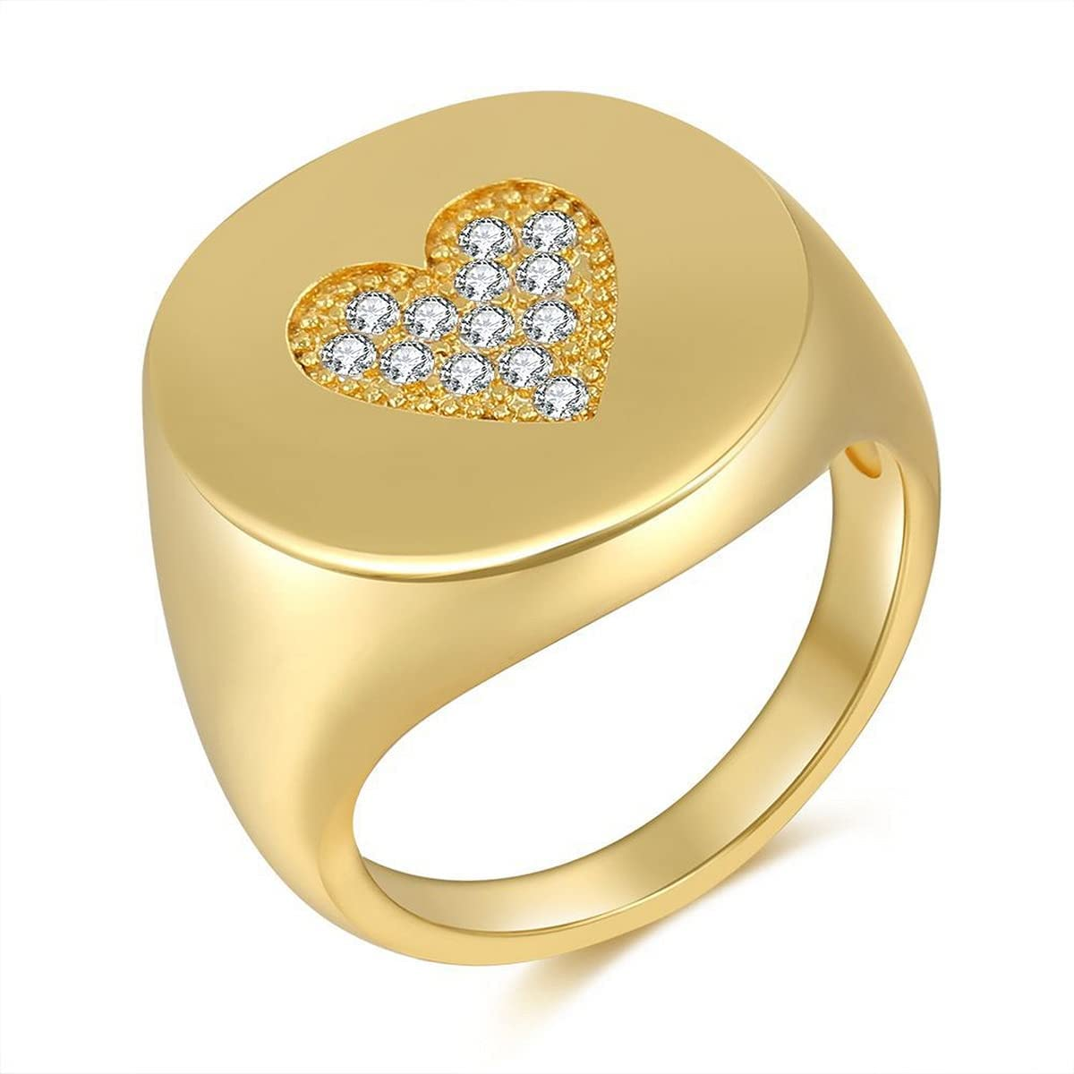 Gold Pink Heart Ring - Chunky Signet Thick Ring Studded Rhinestone,Y2K Statement Trendy Jewelry Gifts for Women Teen Girls Men