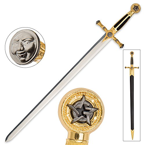 K EXCLUSIVE Medieval/Masonic Sword of Destiny with Scabbard - Black