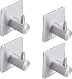 YOMYM Adhesive Hooks Bathroom Towel Shower Hooks Anti-Skid Heavy Duty Wall Hooks Hanger Stick On Hooks for Hanging Towels,...