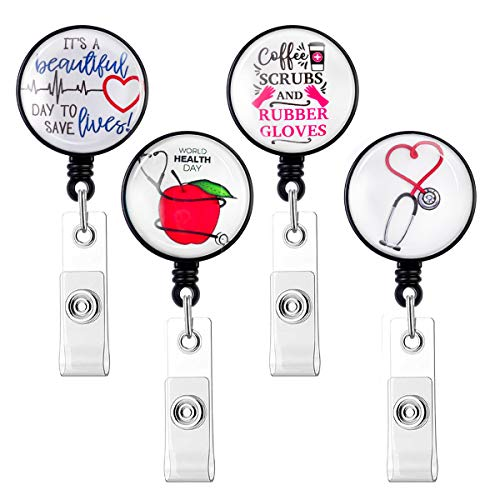HASFINE Nurse or Doctor Badge Holder Reel, 4 Pack Retractable Badge Reels with Alligator Clip on ID Card Holders, 24 Inches Durable Nylon Cord