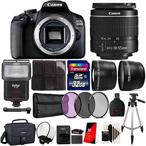 Canon EOS 2000D / Rebel T7 Digital SLR Camera Kit with EF-S 18-55mm f/3.5-5.6 III Lens International Model with Best Camera Bundle