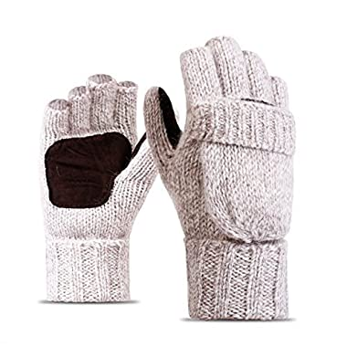 Eianru New Winter Knitted Suede Thinsulate Thermal Insulation Mittens Gloves (L, Beige A)