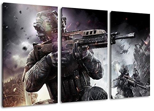 Dark Call of Duty 3-Teilig auf Leinwand, Gesamtformat: 120x80 cm fertig gerahmte Kunstdruckbilder als Wandbild - Billiger als Ölbild oder Gemälde - KEIN Poster oder Plakat
