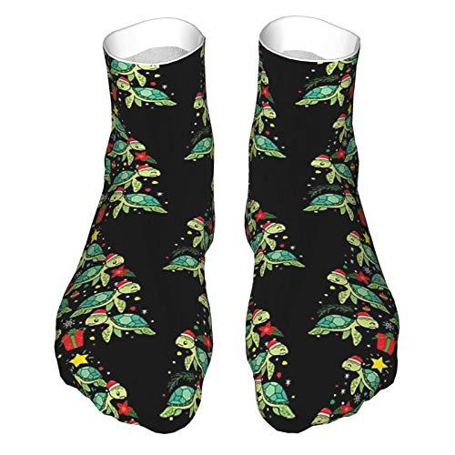 Erwachsene Socken Low Cut Socken Casual Socken Atmungsaktive Sportsocken Unisex 30cm Meeresschildkröte Weihnachtsbaum