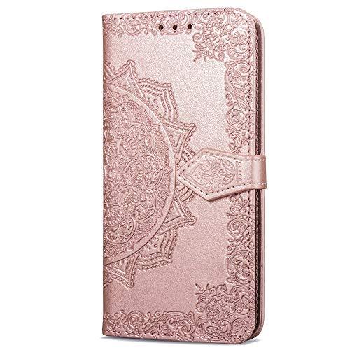 Estuche protector de teléfono celular para Samsung Galaxy J6 Plus. ranura para tarjeta de crédito/flip/billetera/cierre magnético automático/Funda para teléfono móvil con relieve para Galaxy J6+