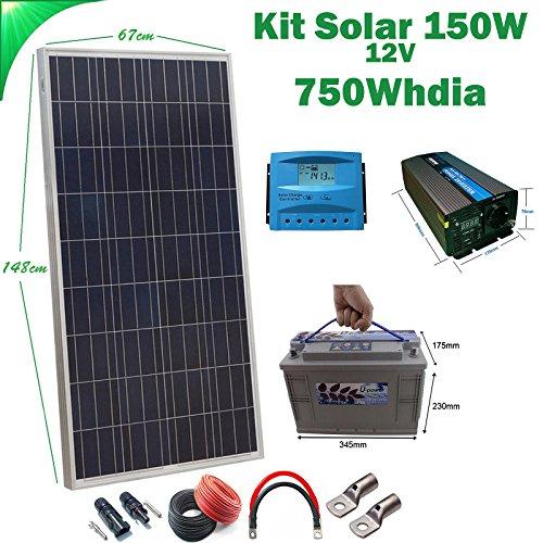 Kit Solar 12v 150W/750W día regulador PWM 20a Inversor 1000w onda pura con mando de...
