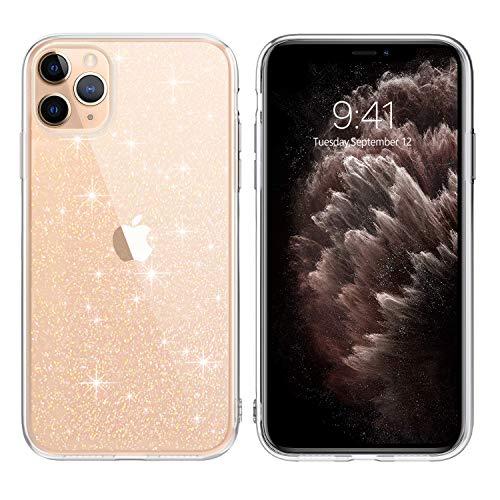 DUEDUE iPhone 11 Pro Hülle Transparent Glitzer [Anti-Gelb & Kratzfestes] iPhone 11 Pro Schutzhülle TPU Silikon Handyhülle für iPhone 11 Pro 5,8' Crystal