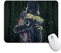 NIESIKKLAマウスパッド 恋人のカップルブラックアートムーンスターユニバース ゲーミング オフィス最適 高級感 おしゃれ 防水 耐久性が良い 滑り止めゴム底 ゲーミングなど適用 用ノートブックコンピュータマウスマット