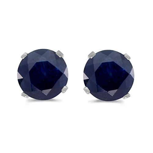 bcaabb215 1 Carat Total Weight Natural Round Sapphire Stud Earrings Set in 14k White  Gold