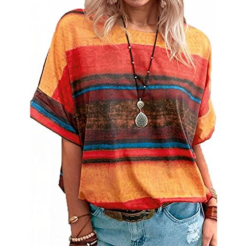 Verano Nuevas Mujeres Tops Gradiente Rayas Cuello Redondo Manga Corta Camiseta Mujer Casual Suelta Talla Grande Ropa