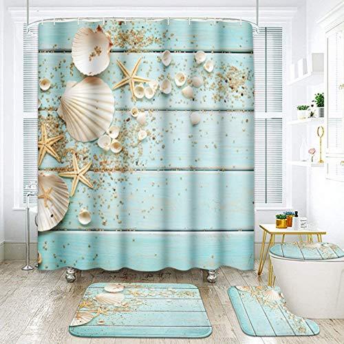 ArtSocket 4 Pcs Shower Curtain Set Seashells Starfish Wooden Nautical Border Summer Beach Ocean with Non-Slip Rugs Toilet Lid Cover and Bath Mat Bathroom Decor Set 72' x 72'