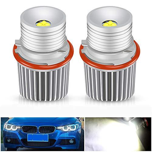 Biqing 40W LED Faros Angel Eyes para Coche, LED Angel Eyes Kit de Conversión Halógena Canbus Faros Delanteros Halo Ring Marker Bombillas 6000K Xenon Blanco para E39 E53 E60 E61 E64 E65 E66 E87