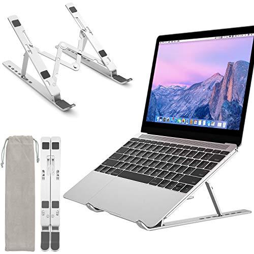 CNXUS Soporte Portatil, Aluminio Ventilado Soporte Ordenador Portátil Plegable,Soporte Portatil Mesa,Elevador Ventilado para Ipad y Dell,HP,Samsung,Lenovo, Ajustables Portátiles de 10''-15.6'' (Plata)