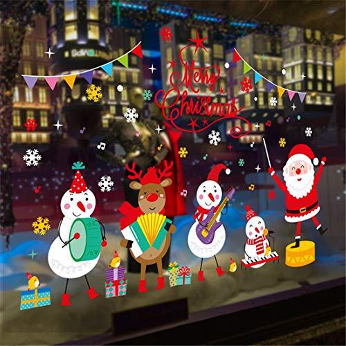 Weihnachtsschmuck, klebrige Aufkleber des alten Mannes, Cartoon, schöne Schneemänner, Elche, Wände, Farbstreifen, Weihnachtskonzerte.