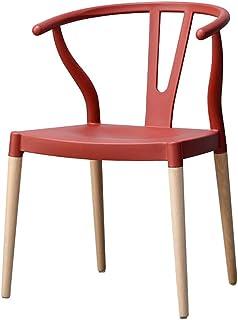 Drcy Nórdico Ocio Plástico Silla de Comedor,con Patas de Madera Y Respaldo para Sillas de Cocina,para Salón Cocina Dormitorio,Rojo