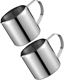 UPKOCH 2Pcs Creamer Jugs Stainles Steel Mini Sauce Pitcher Milk Creamer Coffee Syrup Dipping Bowls Frothing Pichers Sauce ...