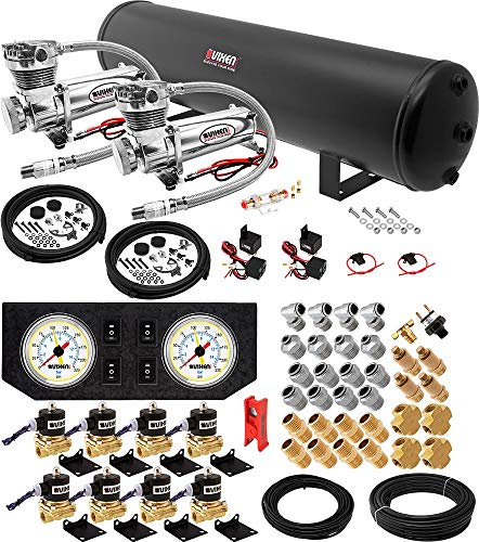 Vixen Air Suspension Kit for Truck/Car Bag/Air Ride/Spring. On Board System- Dual 200psi Compressor, 5 Gallon Tank. for Boat Lift,Towing,Lowering,Load Leveling,Onboard Train Horn VXX1208GW/4852DC