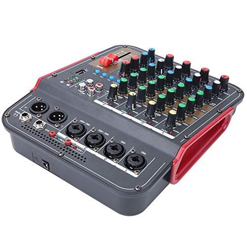 Mezclador de audio,mezclador de 4 canales,placa de sonido de audio,entrada XLR y línea de balance,mezclador de DJ de entrada Trs,mezclador estéreo profesional con sistema de consola para Dj,Kj(negro)