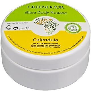 Vegane Körperbutter 4,5 Sterne, Greendoor Bodymousse Calendula 200ml, rein natürliche Body-Butter mit BIO Shea-Butter, BIO Ringelblume, Naturkosmetik, Natur Haut-Pflege Creme, Ostern Geschenke