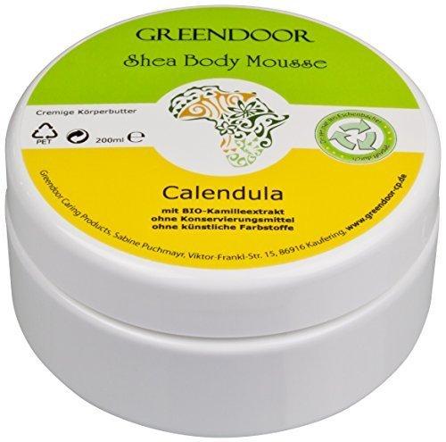 Vegane Körperbutter Greendoor Bodymousse Calendula 200ml, rein natürliche Body-Butter mit BIO Shea-Butter, BIO Ringelblume, Naturkosmetik, Natur Haut-Pflege Creme