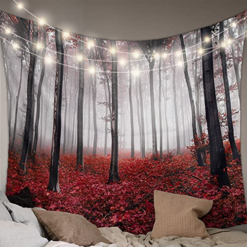 MUSEDAY Wall Hanging Bedding Tapestry Autumn Red Maple Leaf Forest with Mystic Misty Tapestry Wall Decor Blanket Bedspread Picnic Sheet Room Dorm Home Decor- 59''x79''