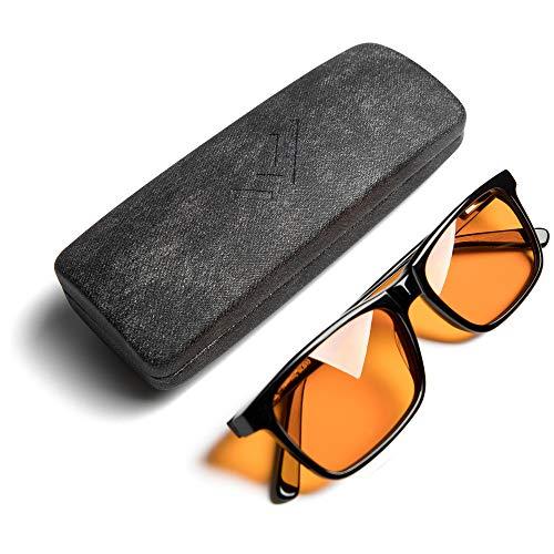 Blue Light Blocking Reading Glasses for Better Sleep - Amber Orange Computer Filter Anti Eye Strain - Square Eyeglasses Frame (Black) Wide - by THL