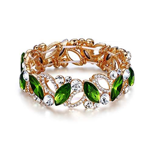EVER FAITH Armband Hochzeit Braut Marquiseschliff Strass Kristall Elastisch Armreif für Damen Grün