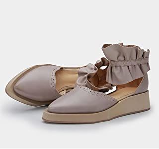 YNXZ-SHOE Ms Heel Sandals, Pointed Cowhide Fashion Sandals, Retro Simplicity Comfortable Rubber Sole, Wear-Resistant Breathable Single Shoes, Gray (Color : Gray, Size : 38)