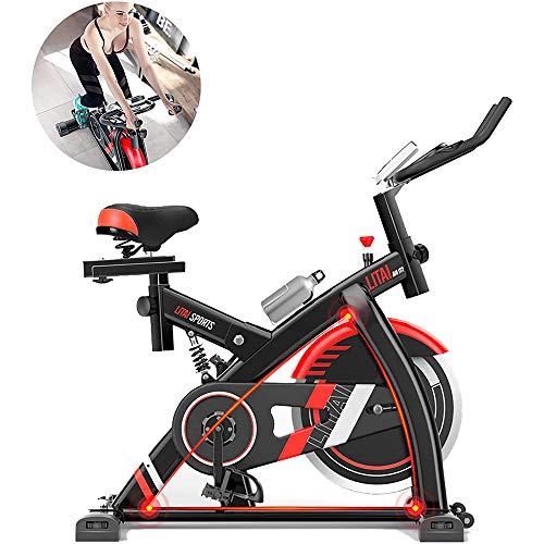 YUANP Bicicleta Estática De Ciclismo para Interiores Bicicleta De Spinning Sensores De Frecuencia Cardíaca Asiento Ajustable
