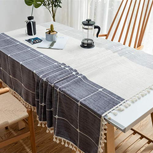 HTUO Wipe Clean Tablecloth Christmas Decoration Grey Table Cloths Household Table Cover Cotton Linen Tassels Large Lattice Dining Table White Table Cloths Rectangular 140 * 180cm