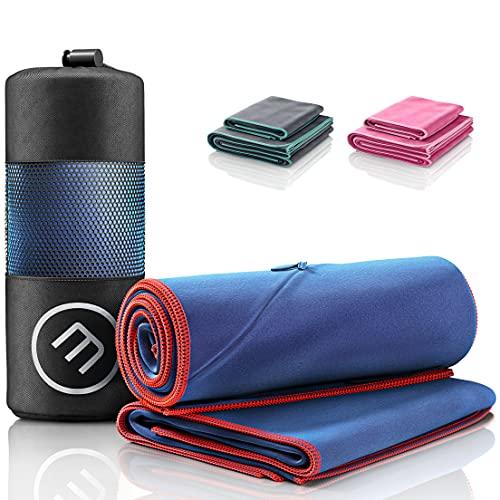 Juego de Toallas de Microfibra + Funda de Transporte | Set de 2 Azules: Grande para baño, pequeño para Cuerpo y Cara | Ultra-Ligeras, absorbentes, de Secado rápido - Deporte Viaje Playa Gimnasio ⭐