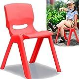Kinderstuhl mit gummierten Füßen bis 100kg belastbar stapelbar & kippsicher Indoor & Outdoor geeignet (aus Kunststoff) (Rot)