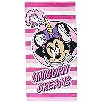 Cerdá Toalla Playa Infantil Minnie Mouse Unicornio, Rosa, 70 x 140 cm