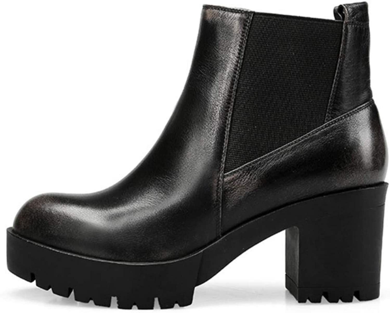 Shiney Women's Genuine Leather Booties Female New Round Head Chunky Heel Elastic Tight High Heel New 2018 Autumn Winter
