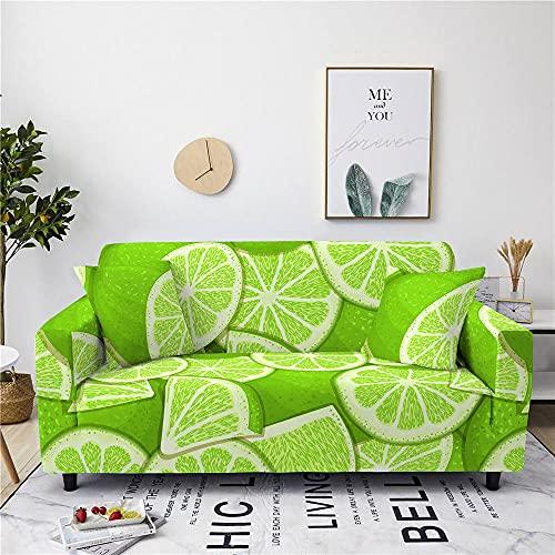 Sofabezug Für Sofa,Staubdichter Gelber Zitronen-Druck-Wohnzimmer-Stretch-Sesselbezug, Rutschfester Moderner Couch-Haustier-Anti-Falten-Schutz, Waschbarer Strapazierfähiger Möbelsitzbezug, 2, Sit