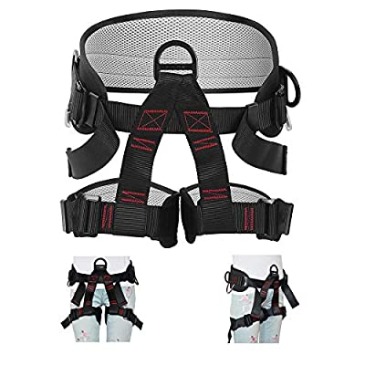 HEEJO Thicken Climbing Harness, Professional Mountaineering Safety Harness/Belt with Magnesium Alloy Connection Ring, Widen Harness for Rock Climbing Outward Bound SRT Fire Rescuing Rappelling