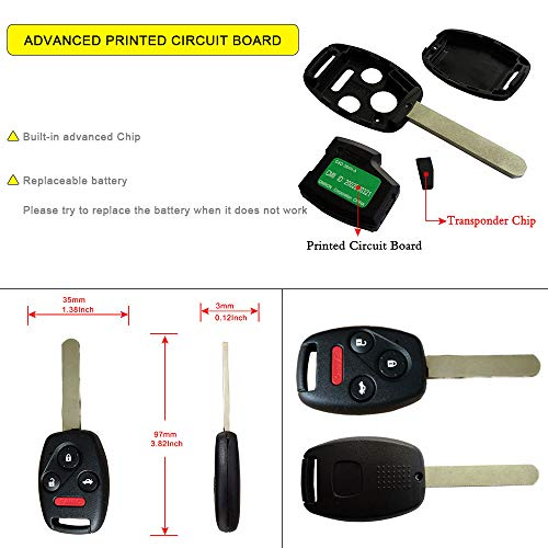 Keyless2Go New Uncut Replacement Transponder Ignition Car Key High Security Laser Sidemill B119 HU100