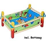 alles-meine.de GmbH Puppenbett aus Holz -  Jungen Farben  - 40 cm lang - aus Naturholz - für Puppen...